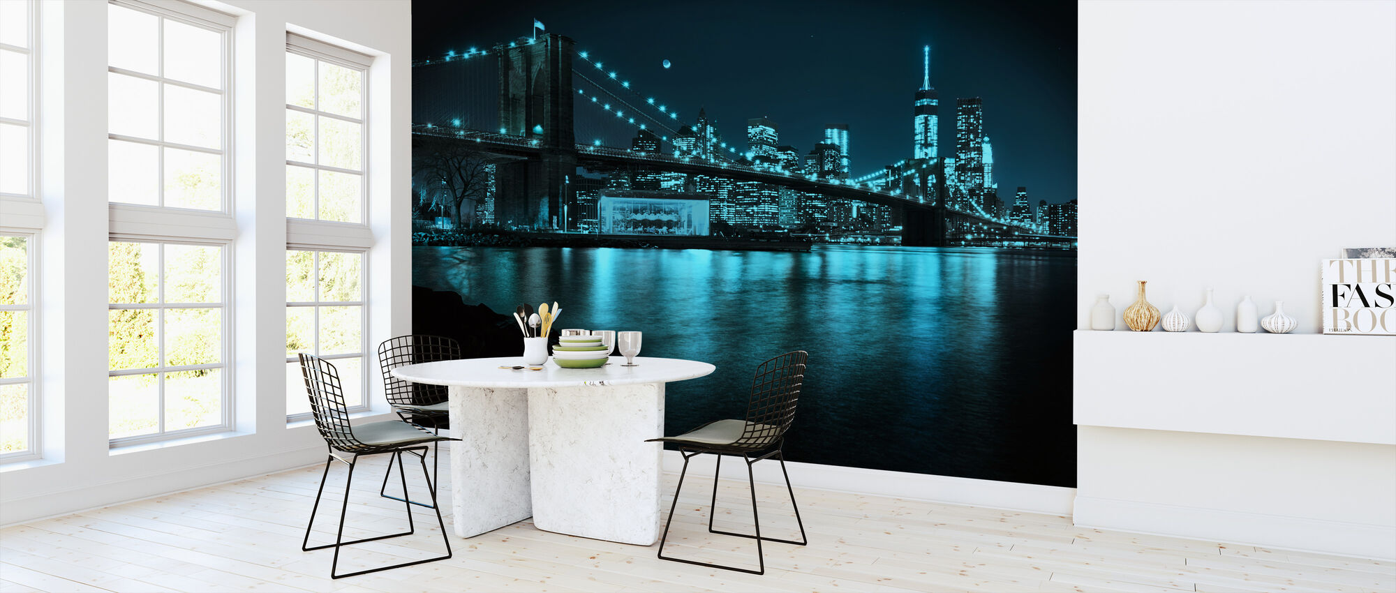 New Freedom Tower and Brooklyn Bridge at night - Wallpaper - Kitchen