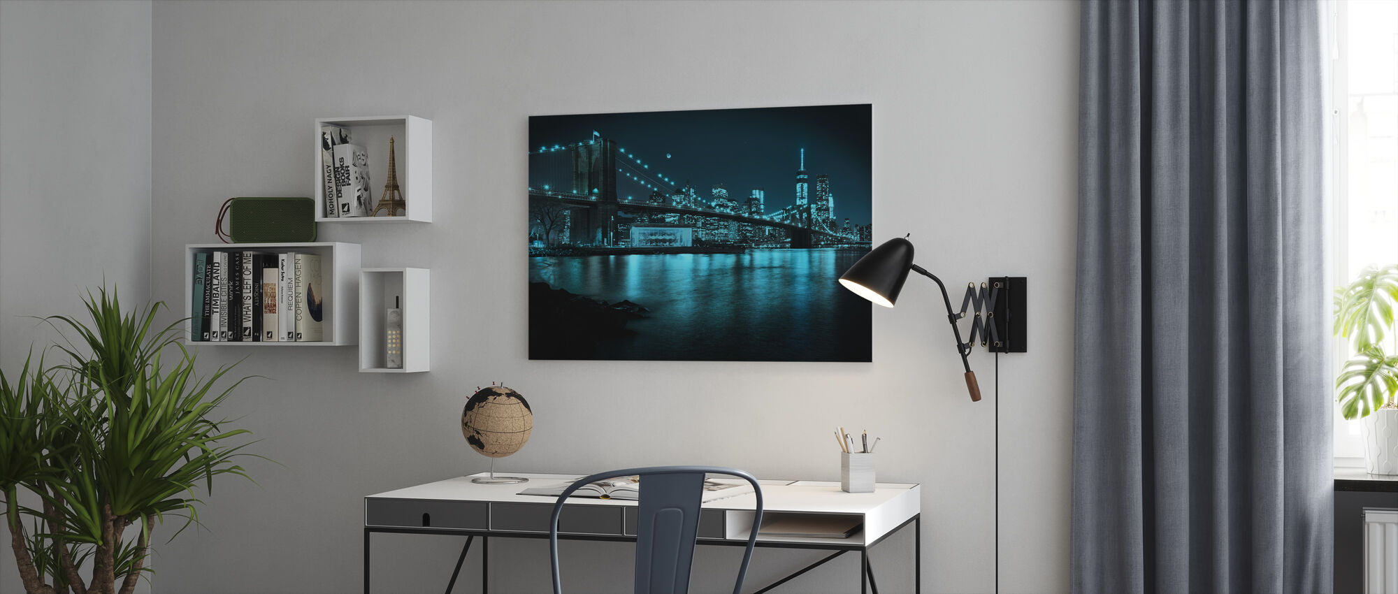 New Freedom Tower and Brooklyn Bridge at night - Canvas print - Office