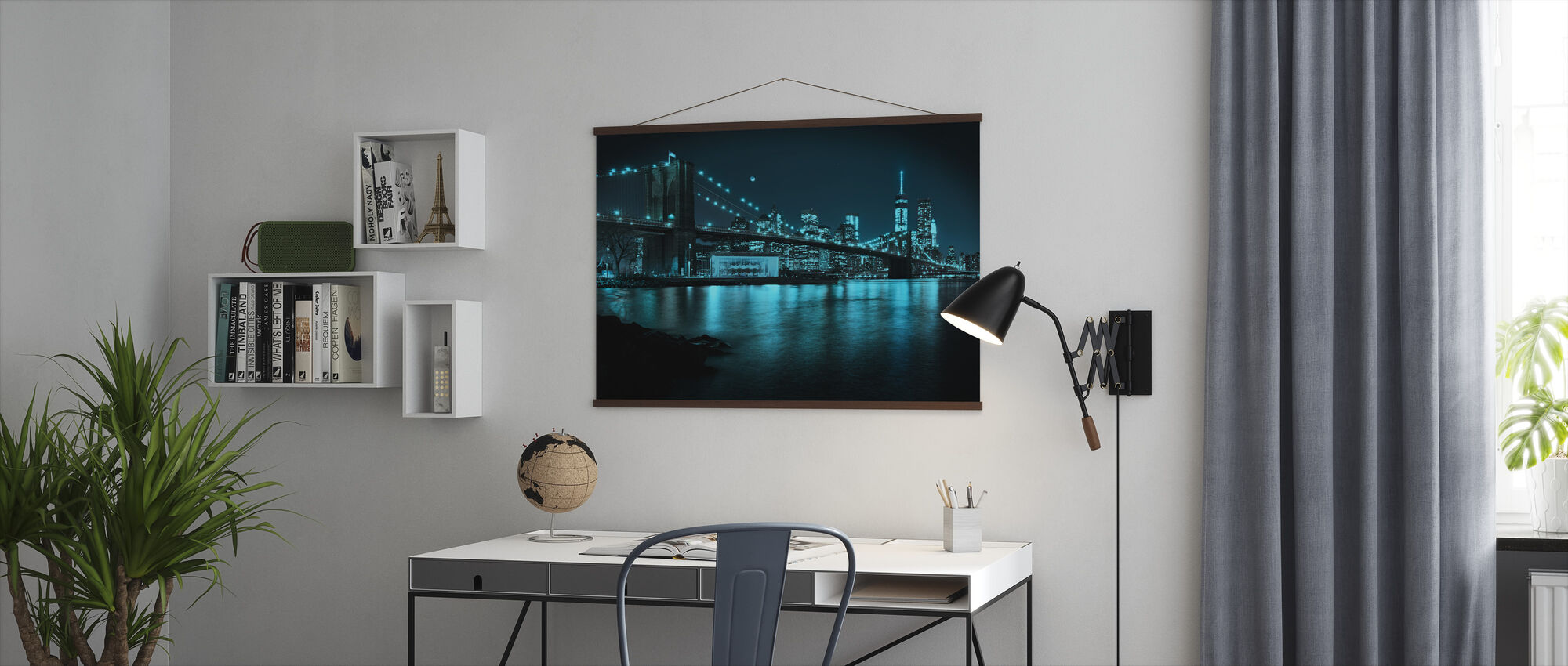 New Freedom Tower and Brooklyn Bridge at night - Poster - Office
