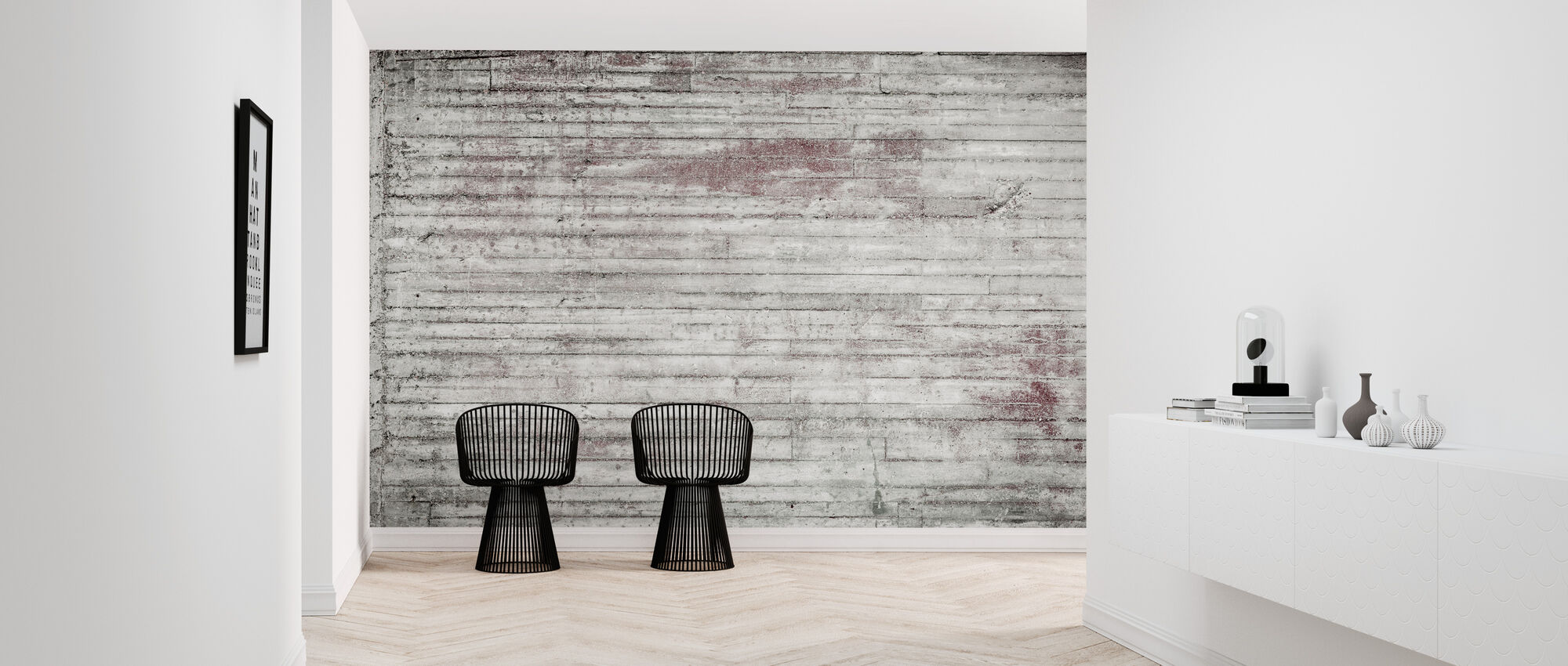 White and Red Concrete Wall - Wallpaper - Hallway