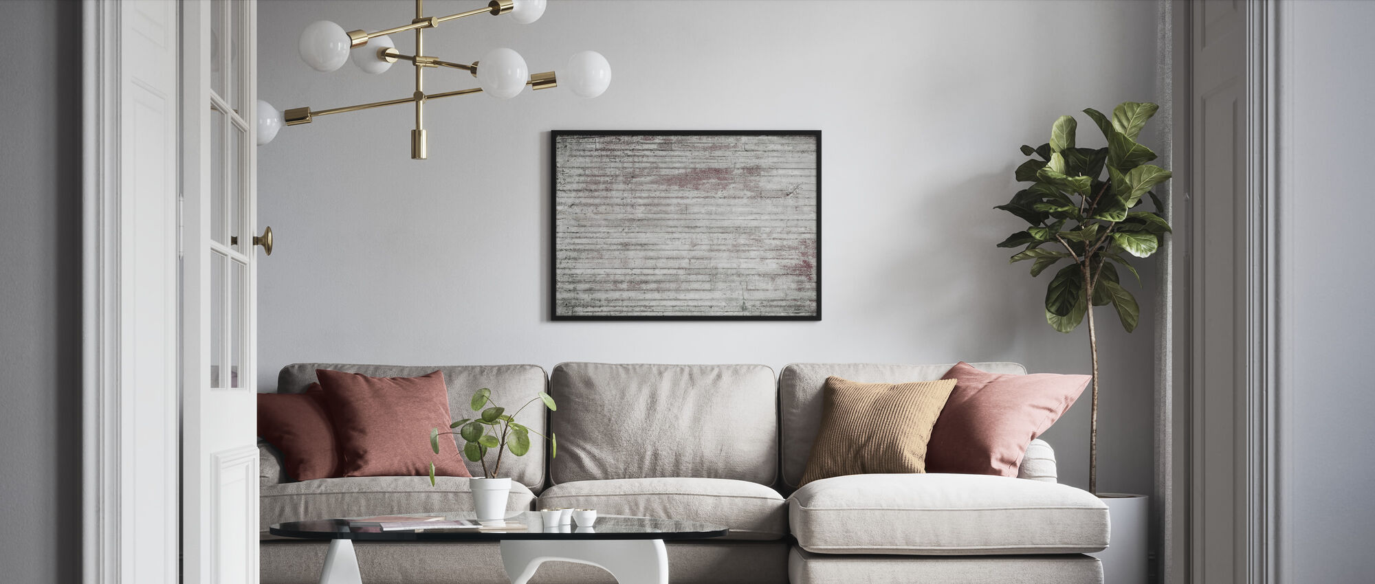 White and Red Concrete Wall - Framed print - Living Room