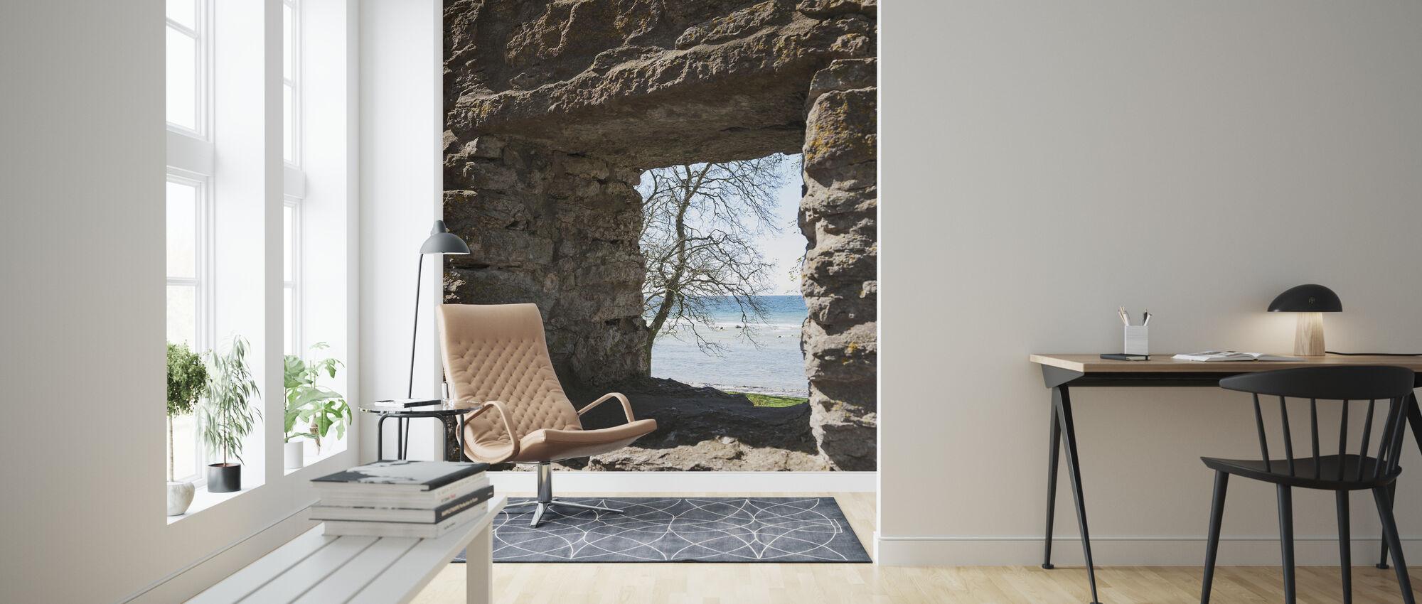 Steinfenster - Tapete - Wohnzimmer