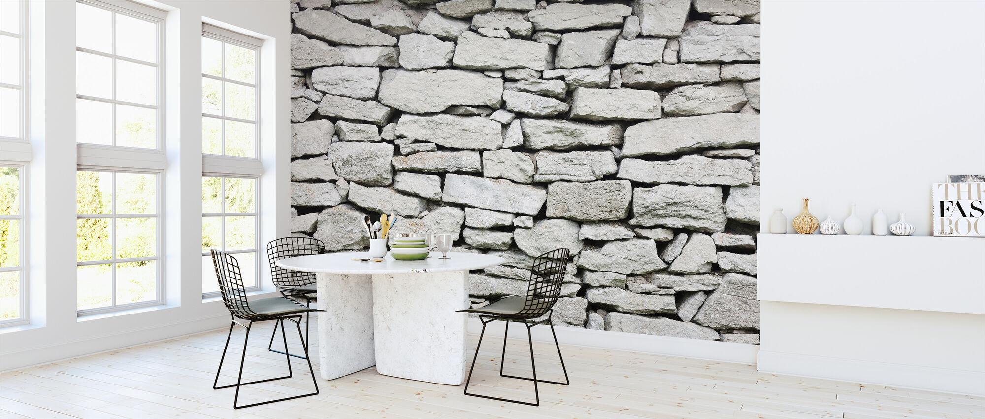 Grijze Stenen Muur - Behang - Keuken