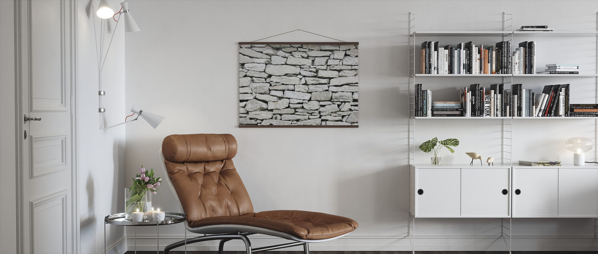 Grey Stone Wall - Poster - Living Room