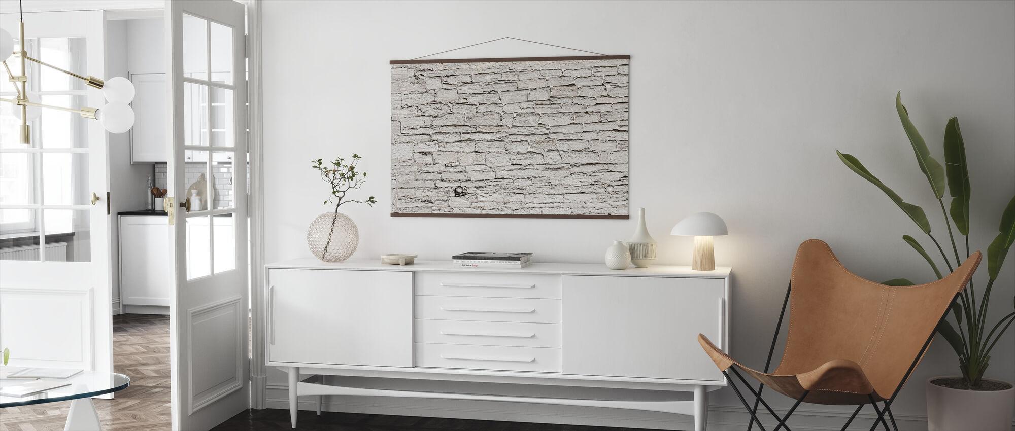 Light Grey Stone Wall - Poster - Living Room