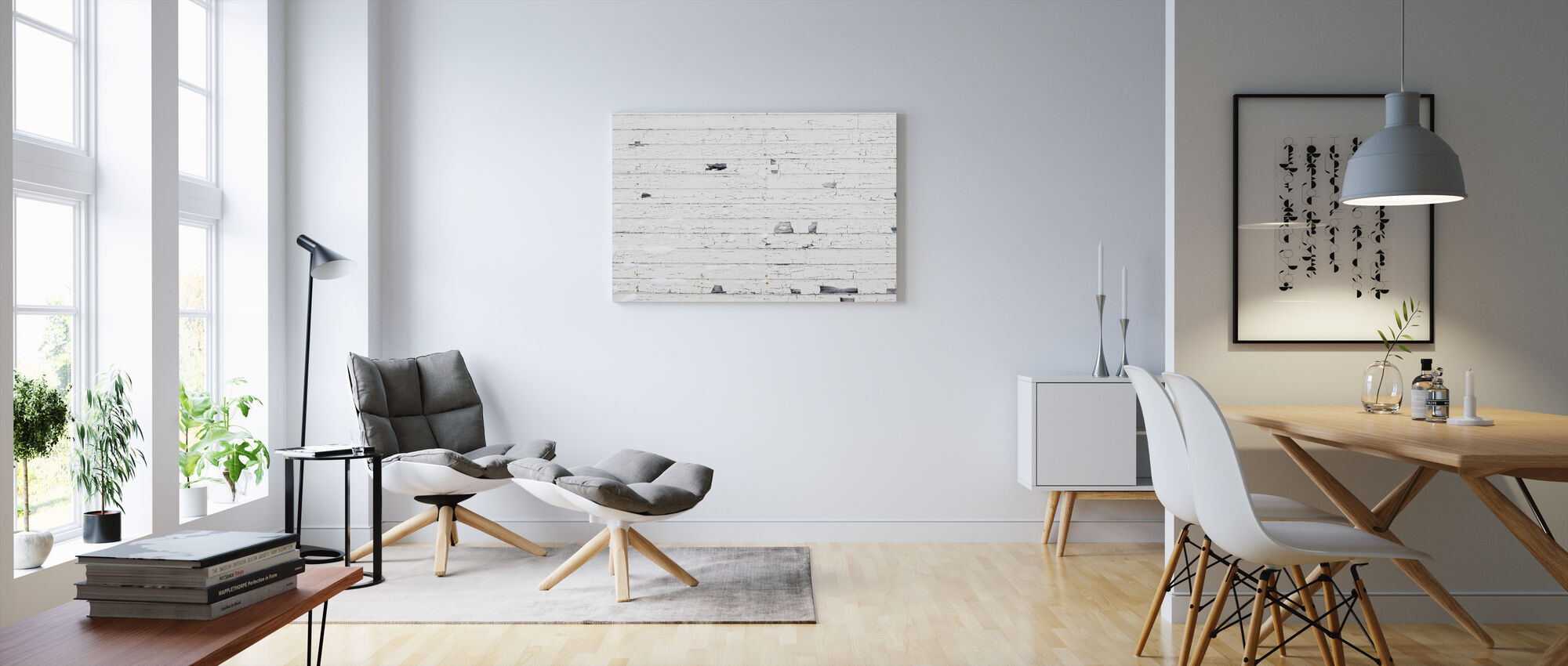 White Woodenwall with Snow - Canvas print - Living Room