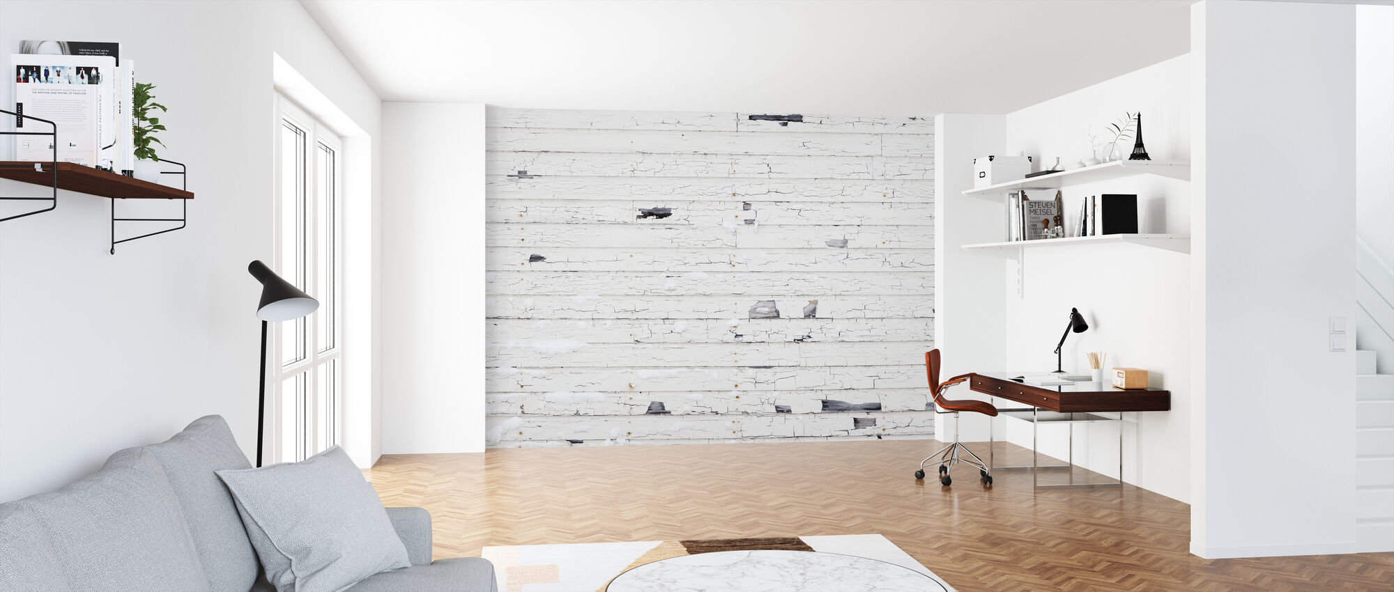 White Woodenwall with Snow - Wallpaper - Office