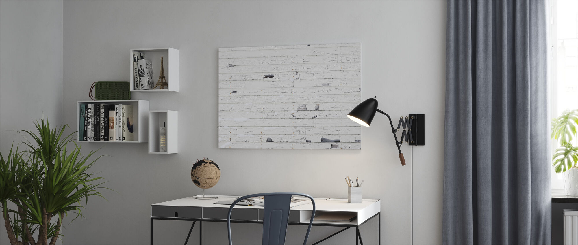 White Woodenwall with Snow - Canvas print - Office