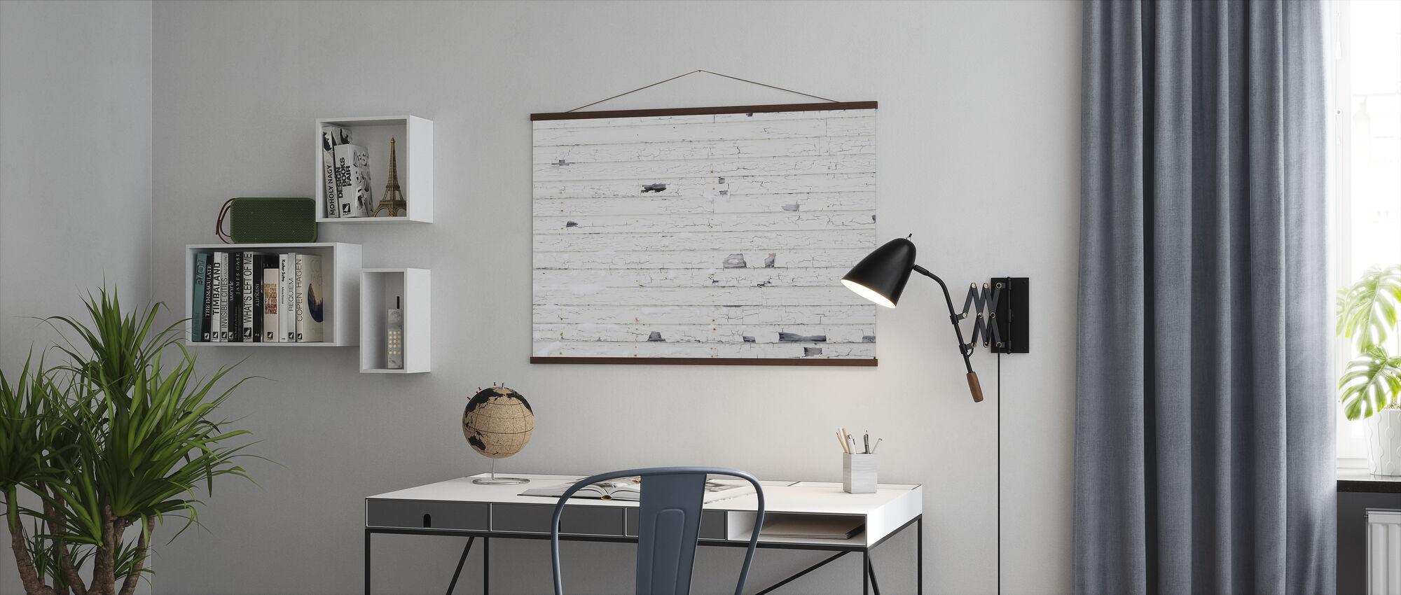 Witte Houtenmuur met Sneeuw - Poster - Kantoor