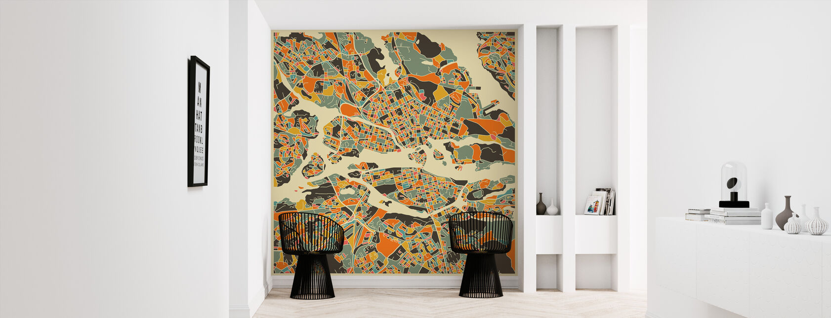 Multicolor Map - Stockholm - Wallpaper - Hallway