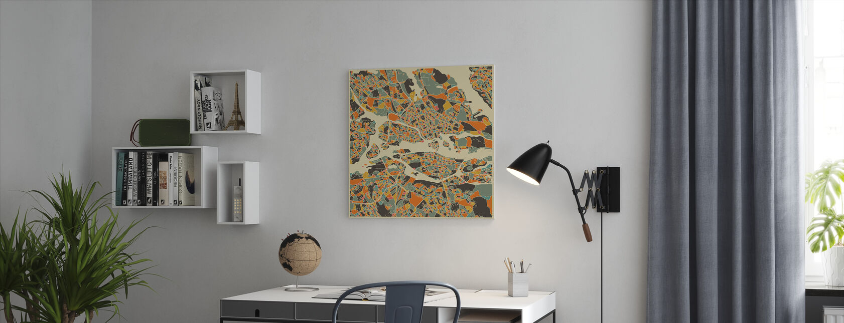 Multicolor Map - Stockholm - Canvas print - Office