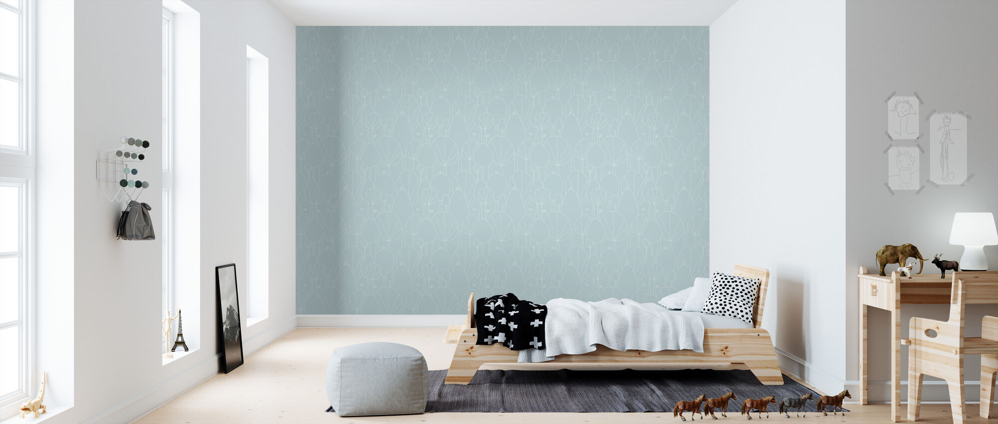 Happy Forest - Aqua - Wallpaper - Kids Room