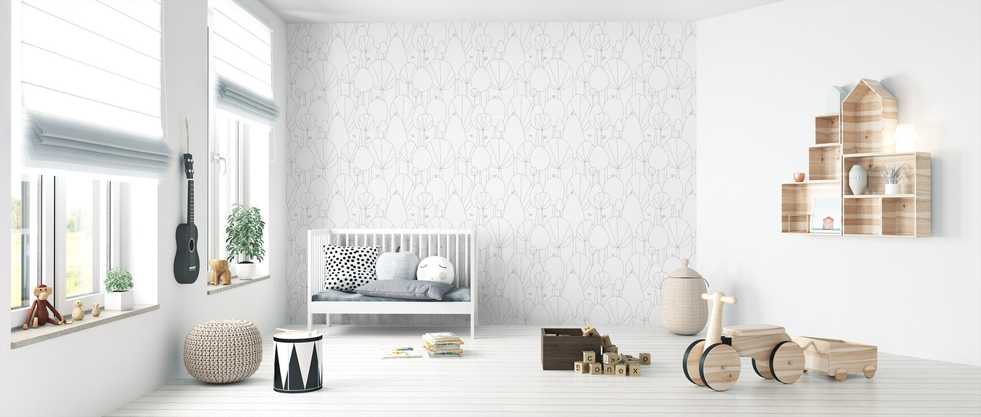 Happy Forest - Grey - Wallpaper - Nursery