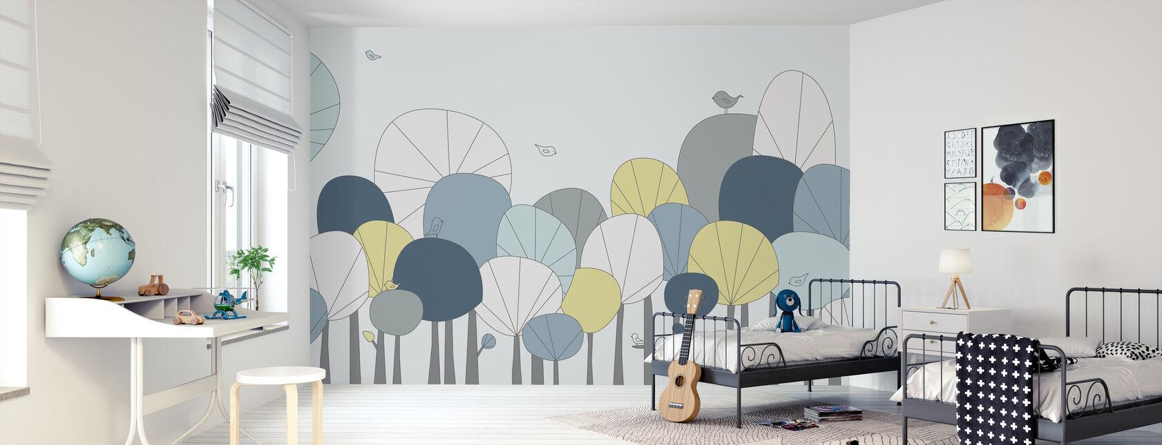 Happy Forest - Pastellin sininen - Tapetti - Lastenhuone
