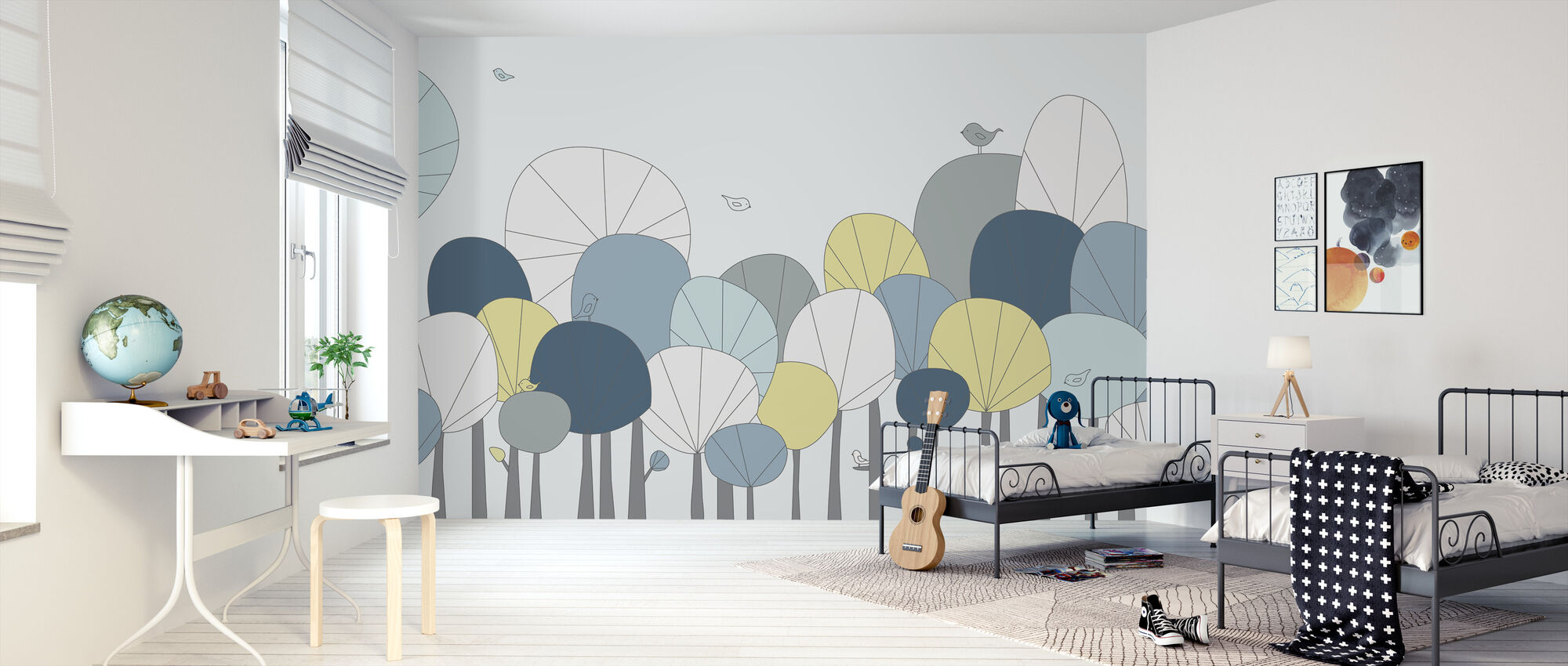 Happy Forest - Pastel Blue - Wallpaper - Kids Room
