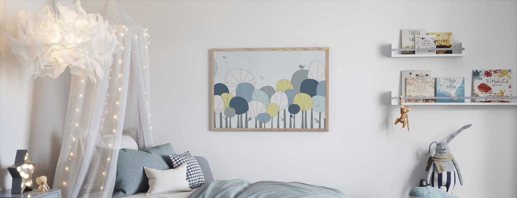 Happy Forest - Azul pastel - Print enmarcado - Cuarto de niños