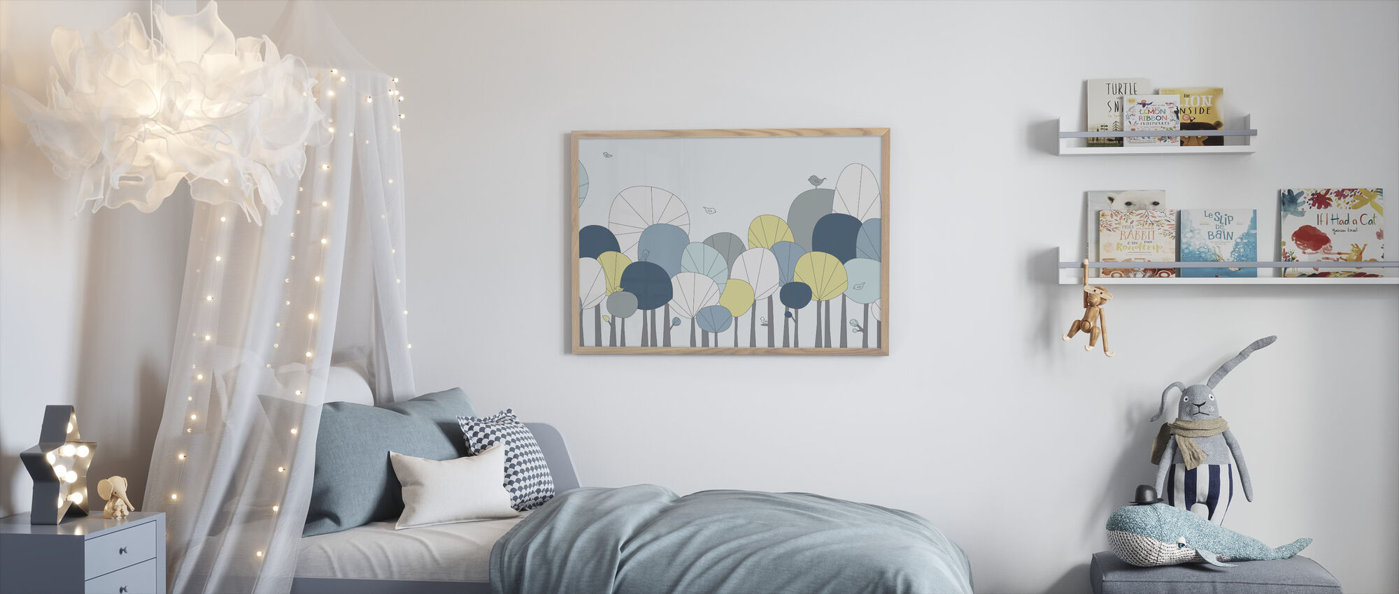 Happy Forest - Pastel Blue - Framed print - Kids Room