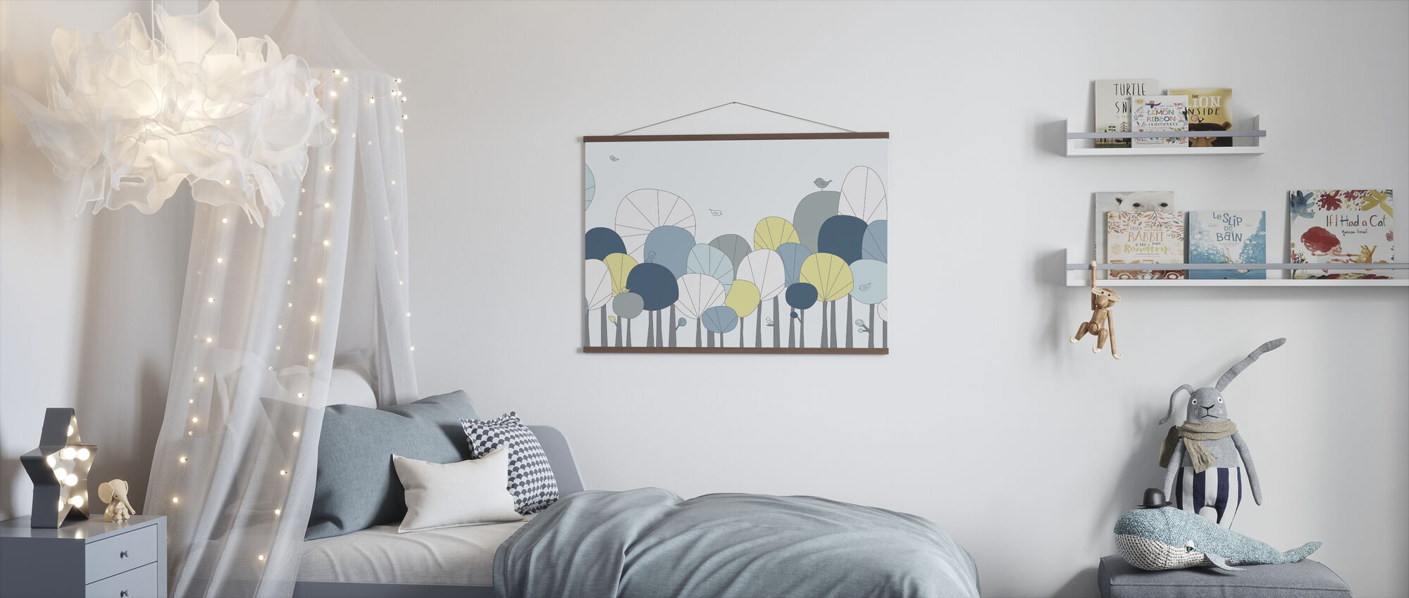 Happy Forest - Pastel Blue - Poster - Kids Room