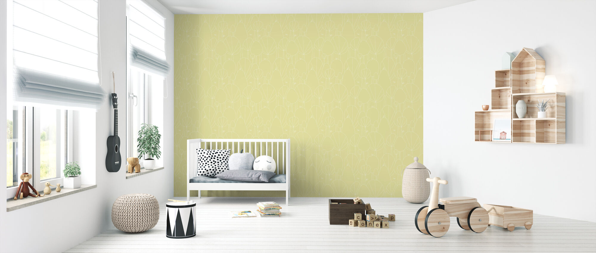 Happy Forest - Yellow - Wallpaper - Nursery