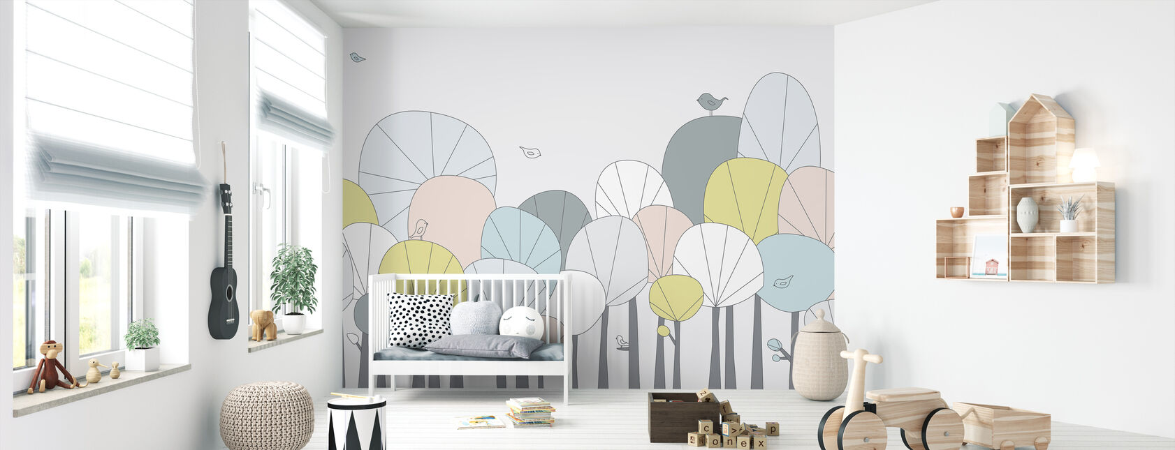 Happy Forest - Pastell - Tapete - Babyzimmer