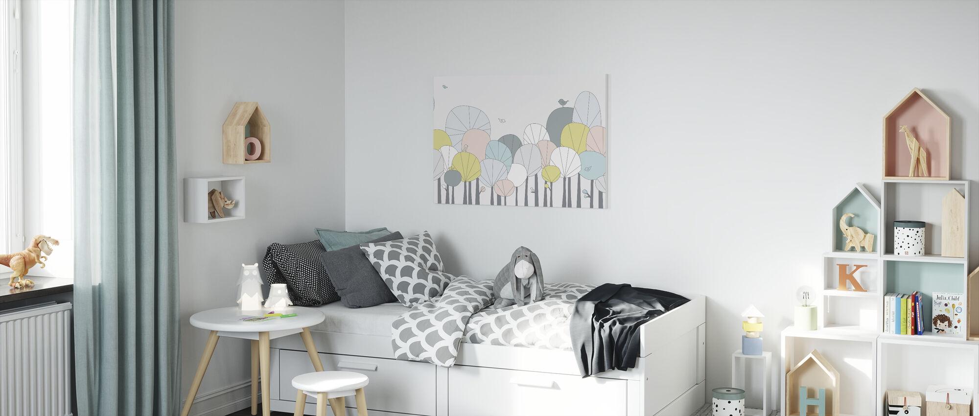 Lycklig skog - pastell - Canvastavla - Barnrum