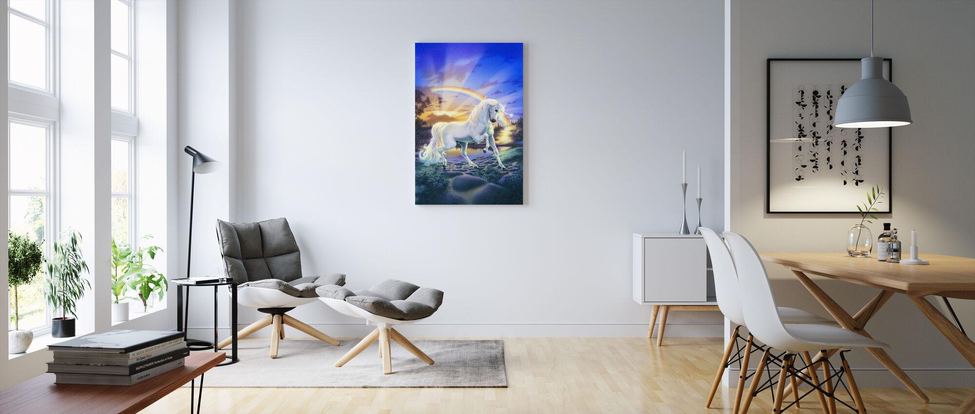 Regnbåge enhörning - Canvastavla - Vardagsrum