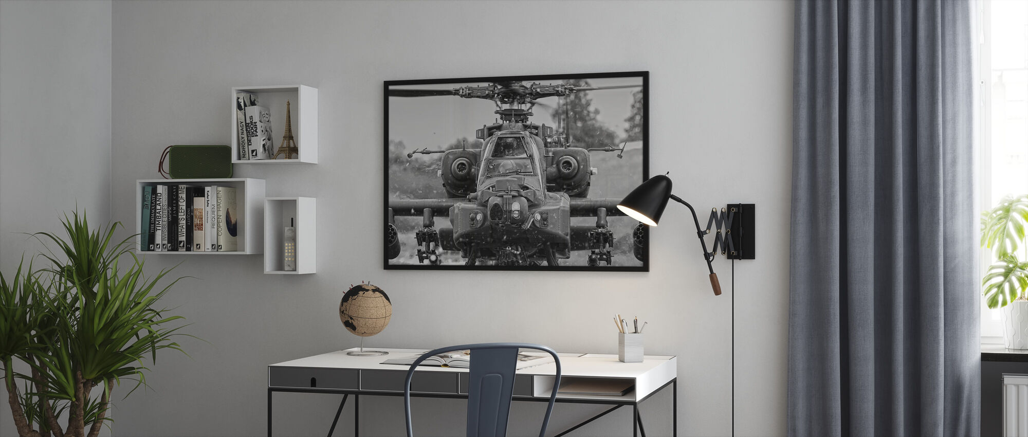 Apache Helicopter - Framed print - Office