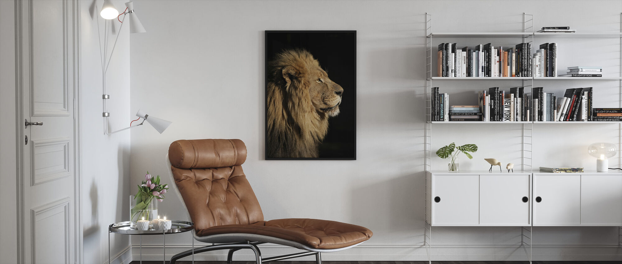 Big Male African Lion - Framed print - Living Room