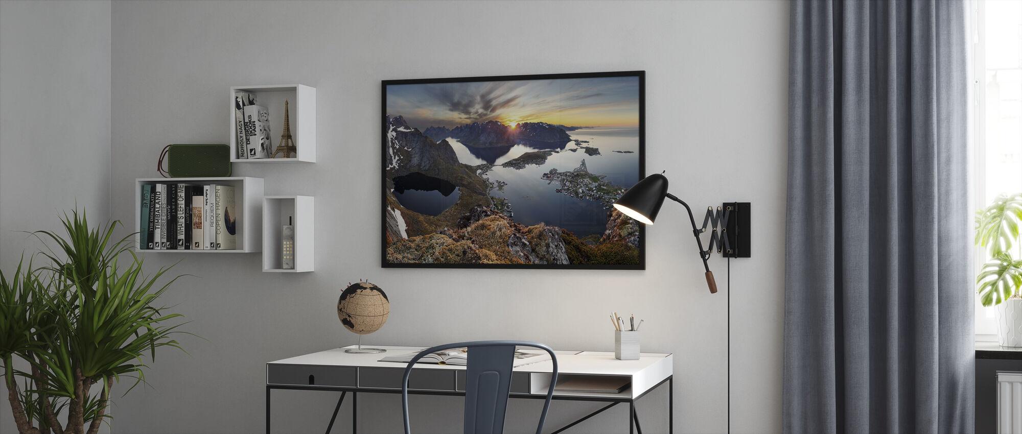 Mountain Landscape at Sunset in Norway - Framed print - Office