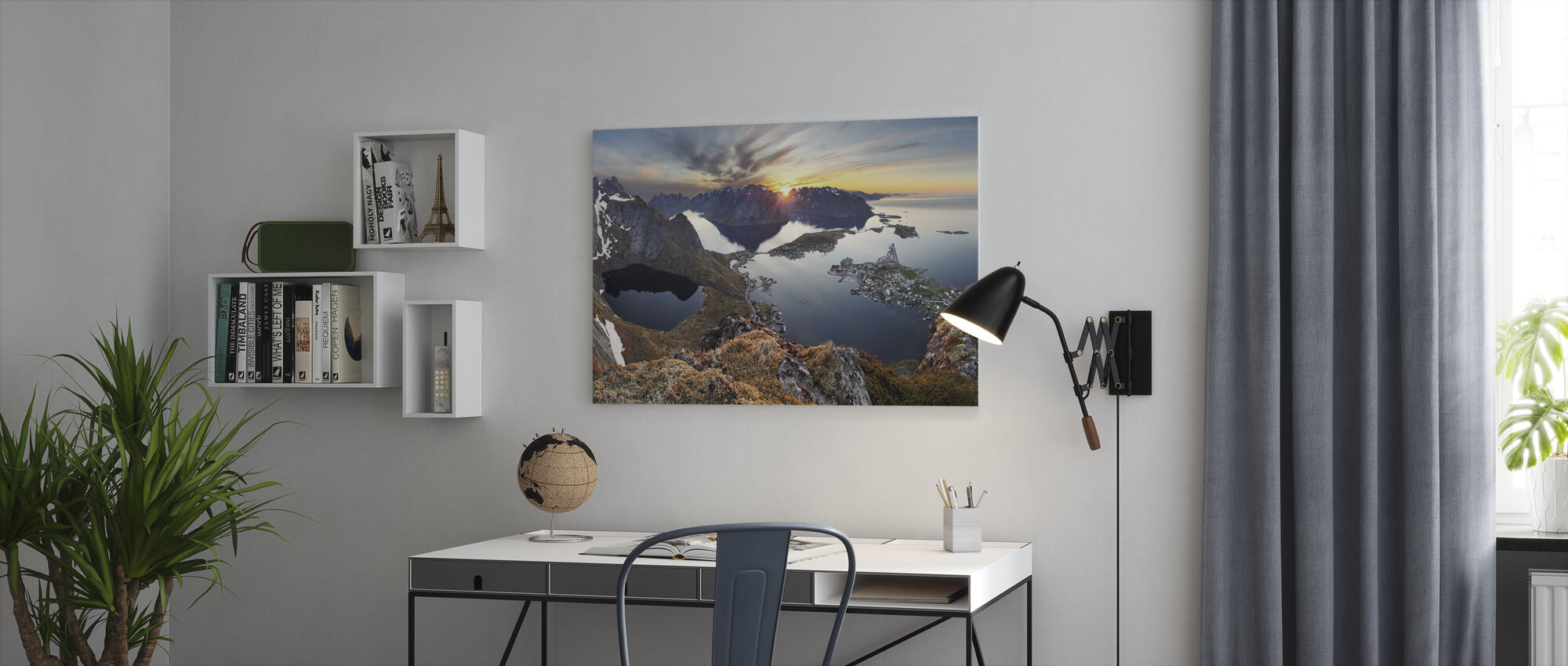 Mountain Landscape at Sunset in Norway - Canvas print - Office