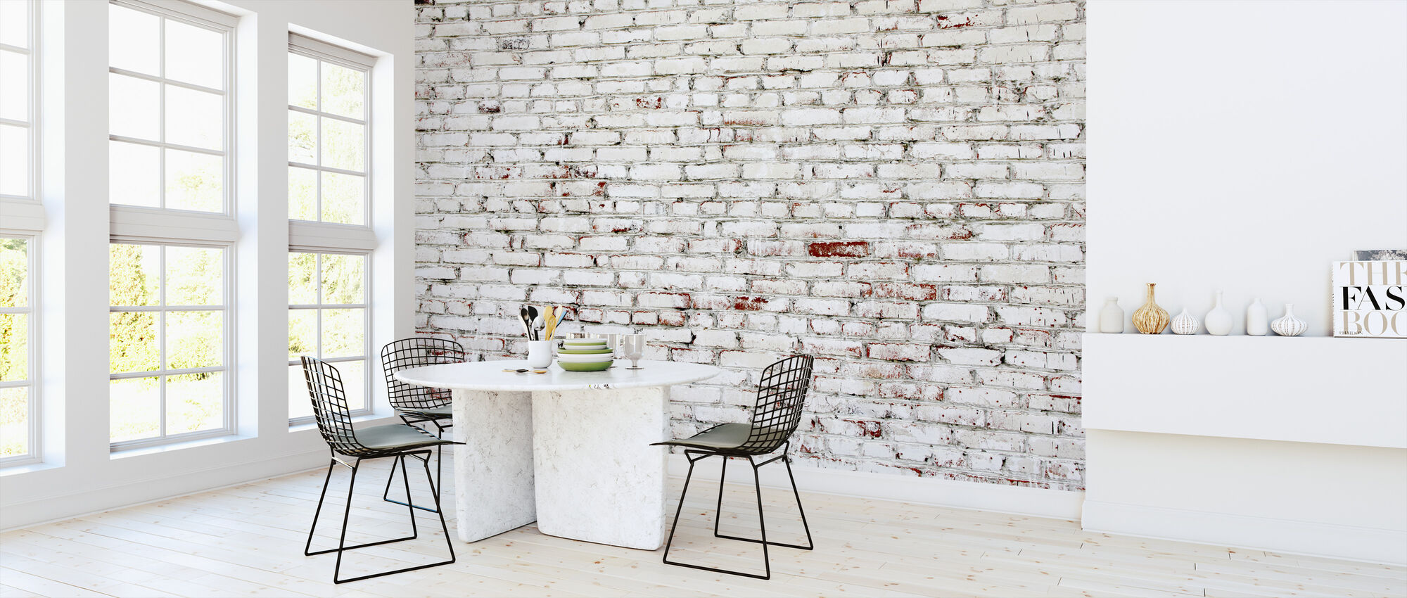 Old Brick Wall with white and red bricks - Wallpaper - Kitchen