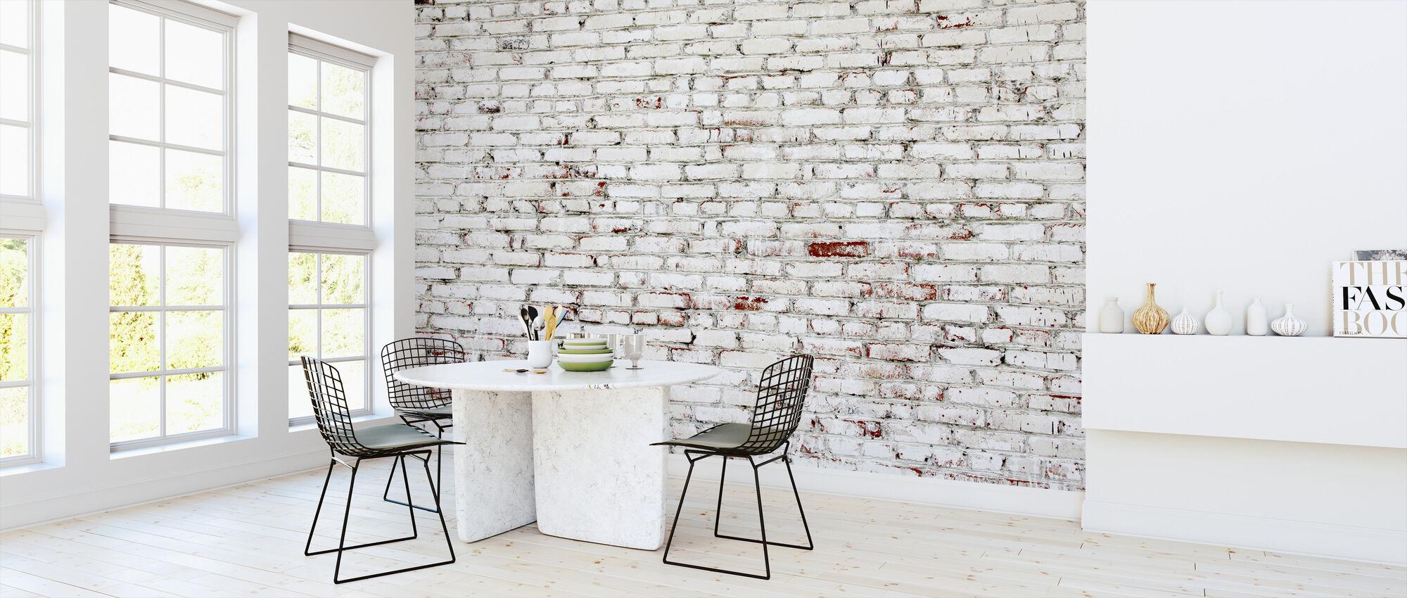 Gamla tegelvägg med vita och röda tegelstenar - Tapet - Kök