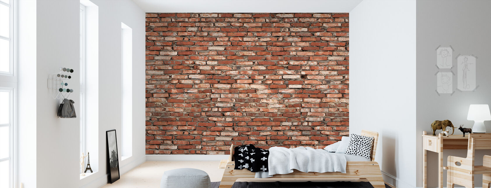 Old Brick Wall Red - Wallpaper - Kids Room