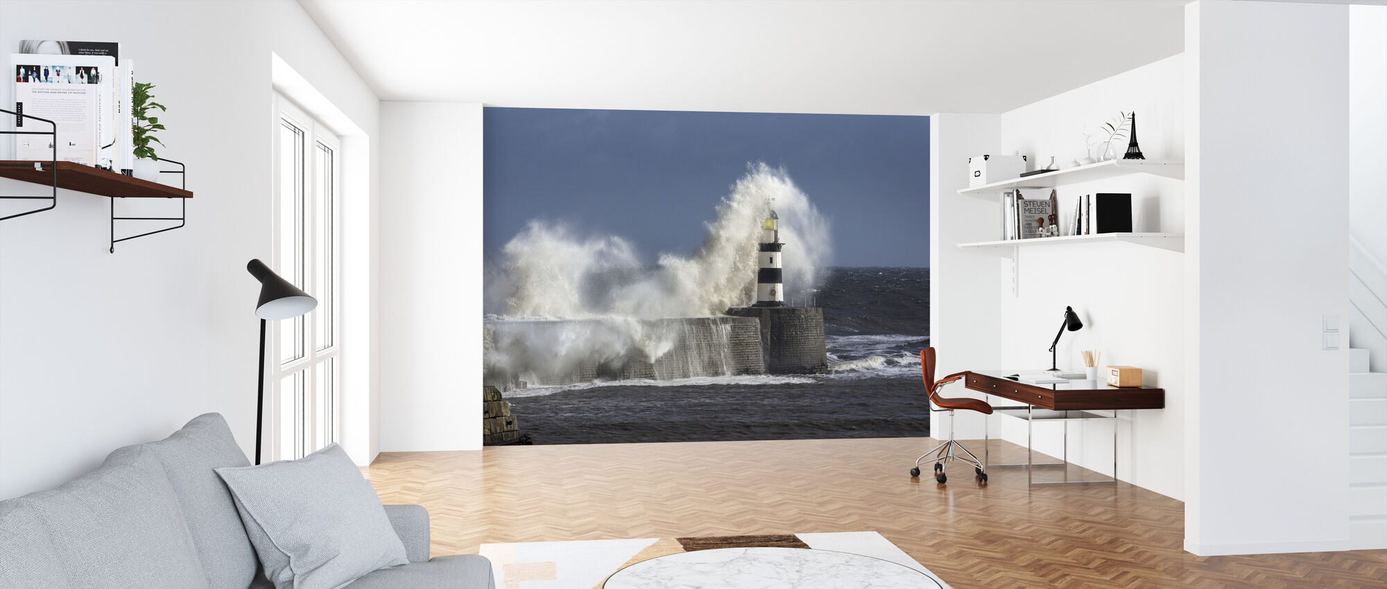 Rough Sea at Seaham Lighthouse in England - Wallpaper - Office