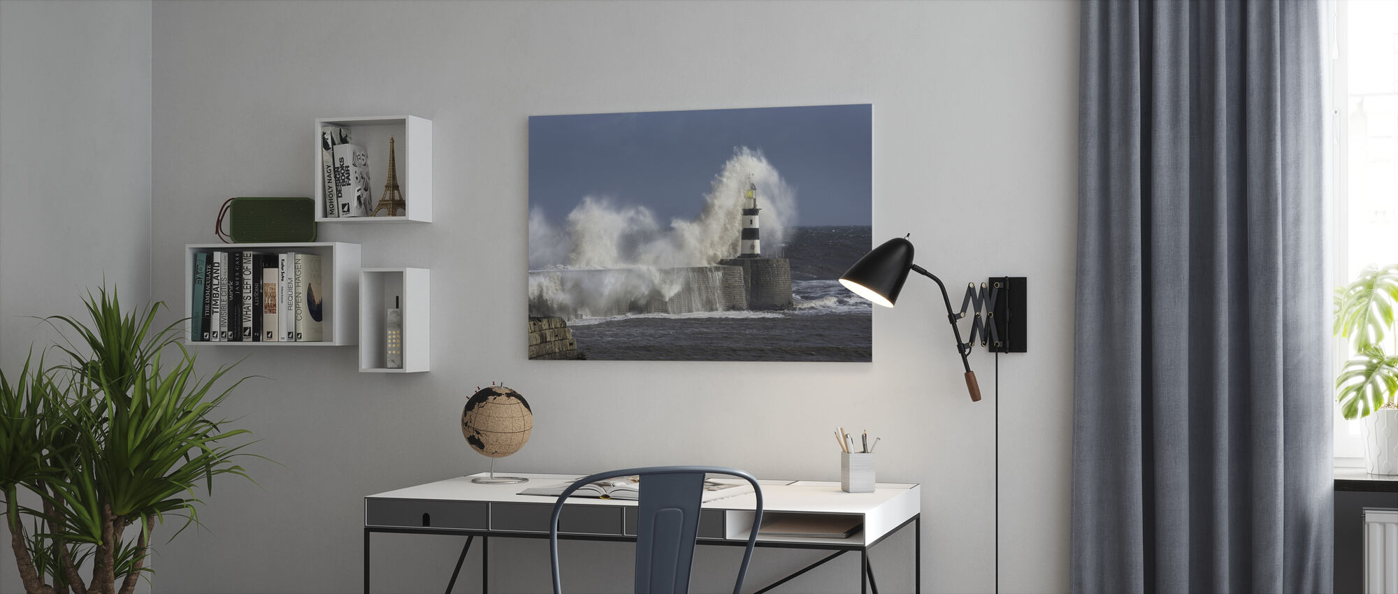 Rough Sea at Seaham Lighthouse in England - Canvas print - Office