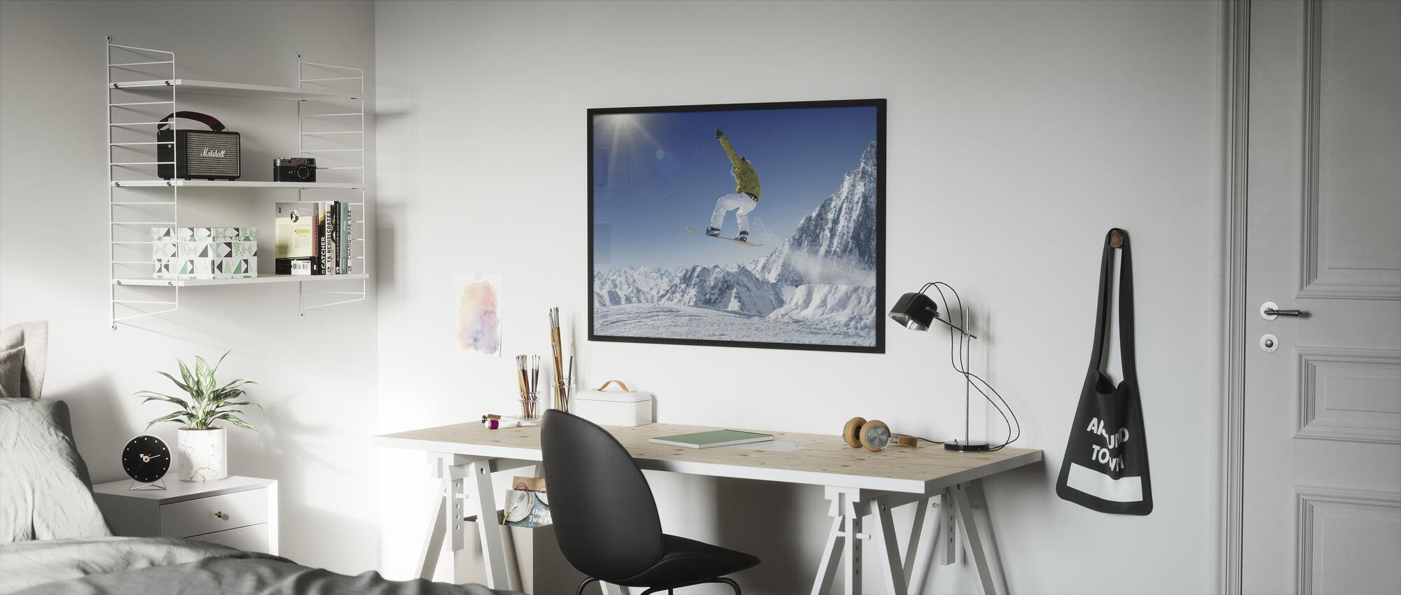 Skiër in de hoge bergen - Ingelijste print - Kinderkamer