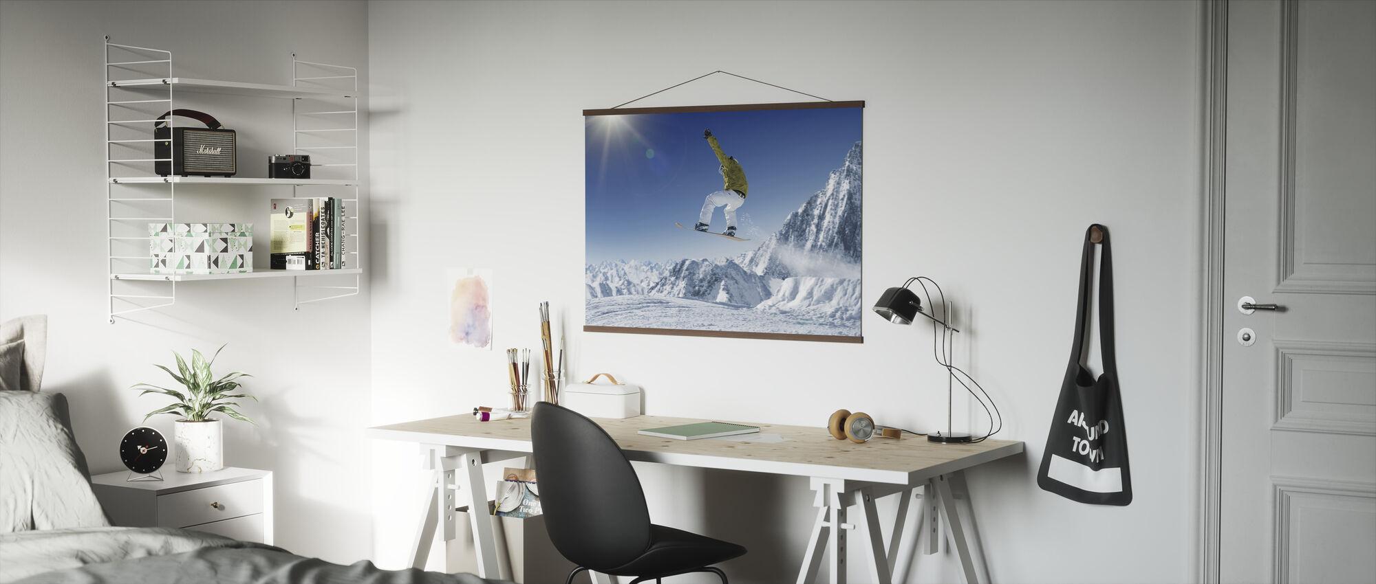 Skiër in de hoge bergen - Poster - Kantoor