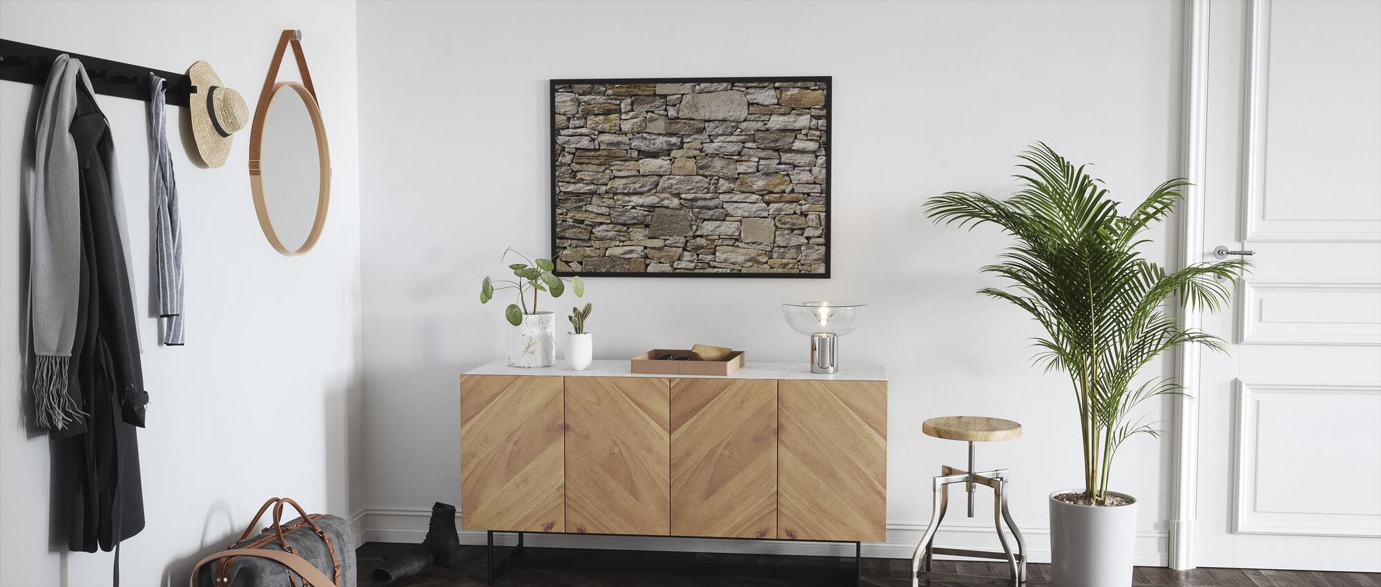 Stone Wall background - Framed print - Hallway