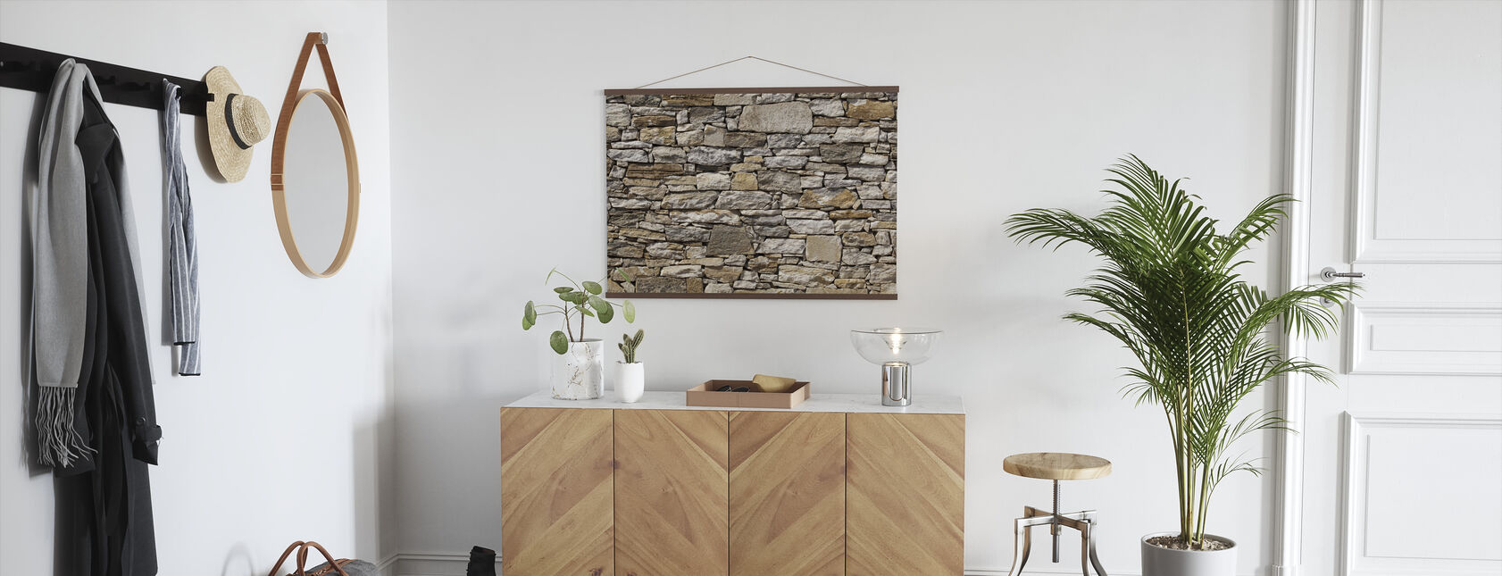 Stone Wall background - Poster - Hallway