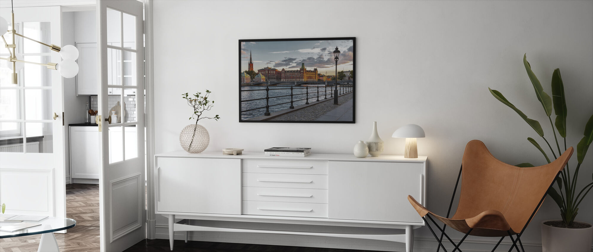 Sunset in the Old Town in Stockholm - Framed print - Living Room