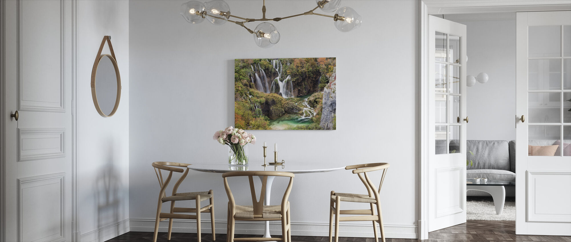 Watervallen in de herfst landschap - Canvas print - Keuken