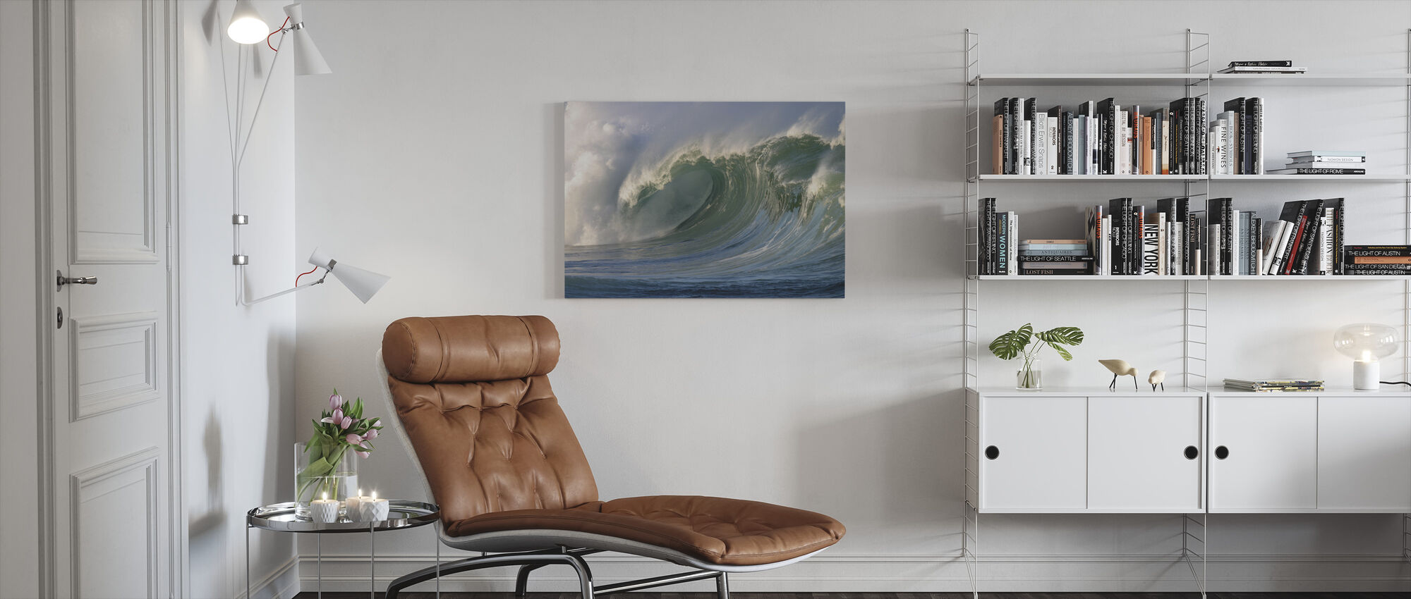 Wave breaking at Waimea Bay - Canvas print - Living Room
