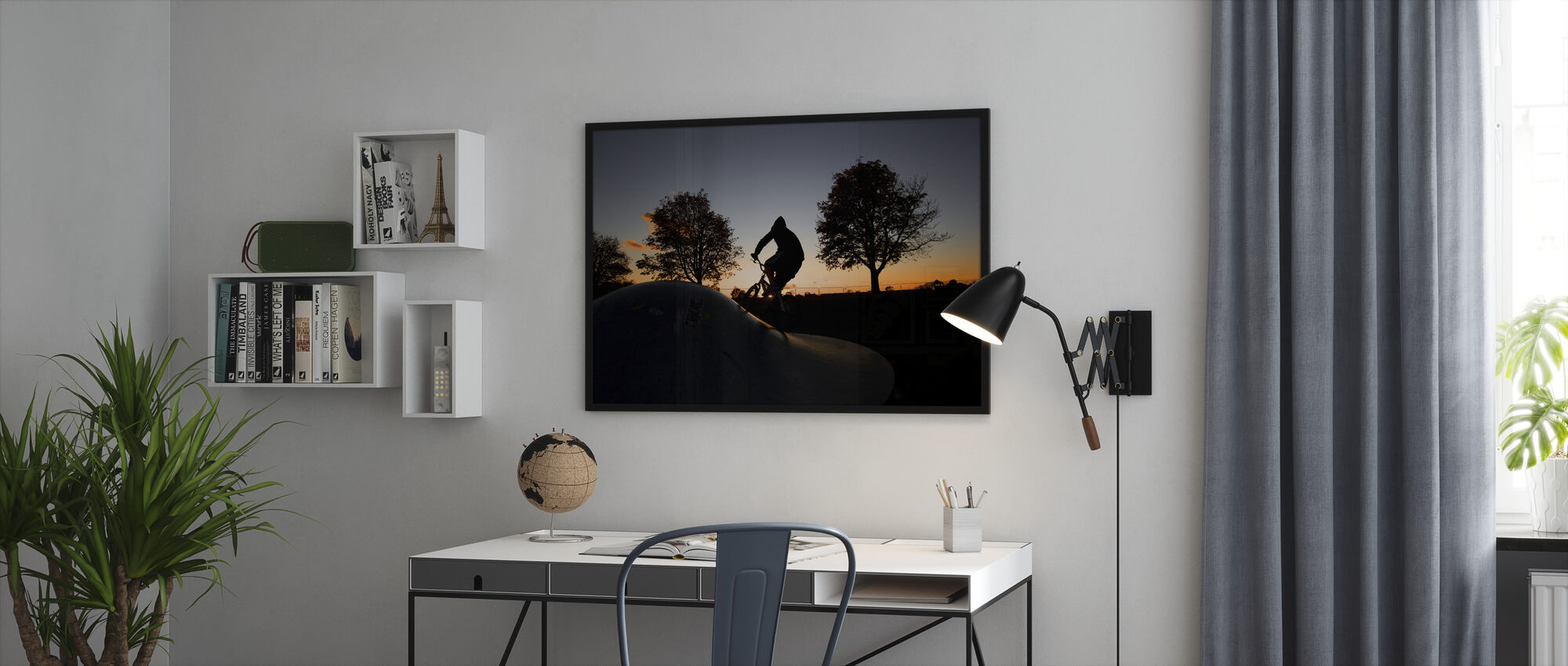 BMX Biking at Sunset - Framed print - Office