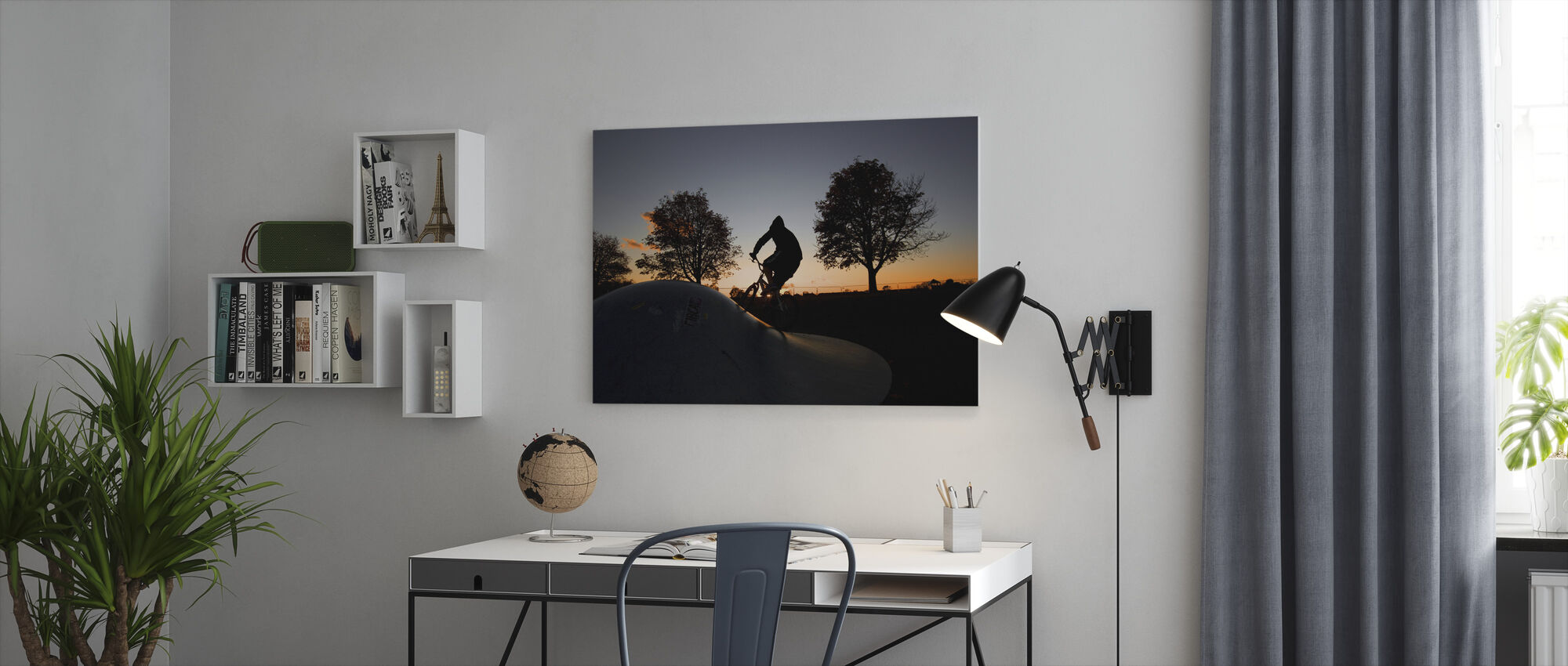 BMX Biking at Sunset - Canvas print - Office