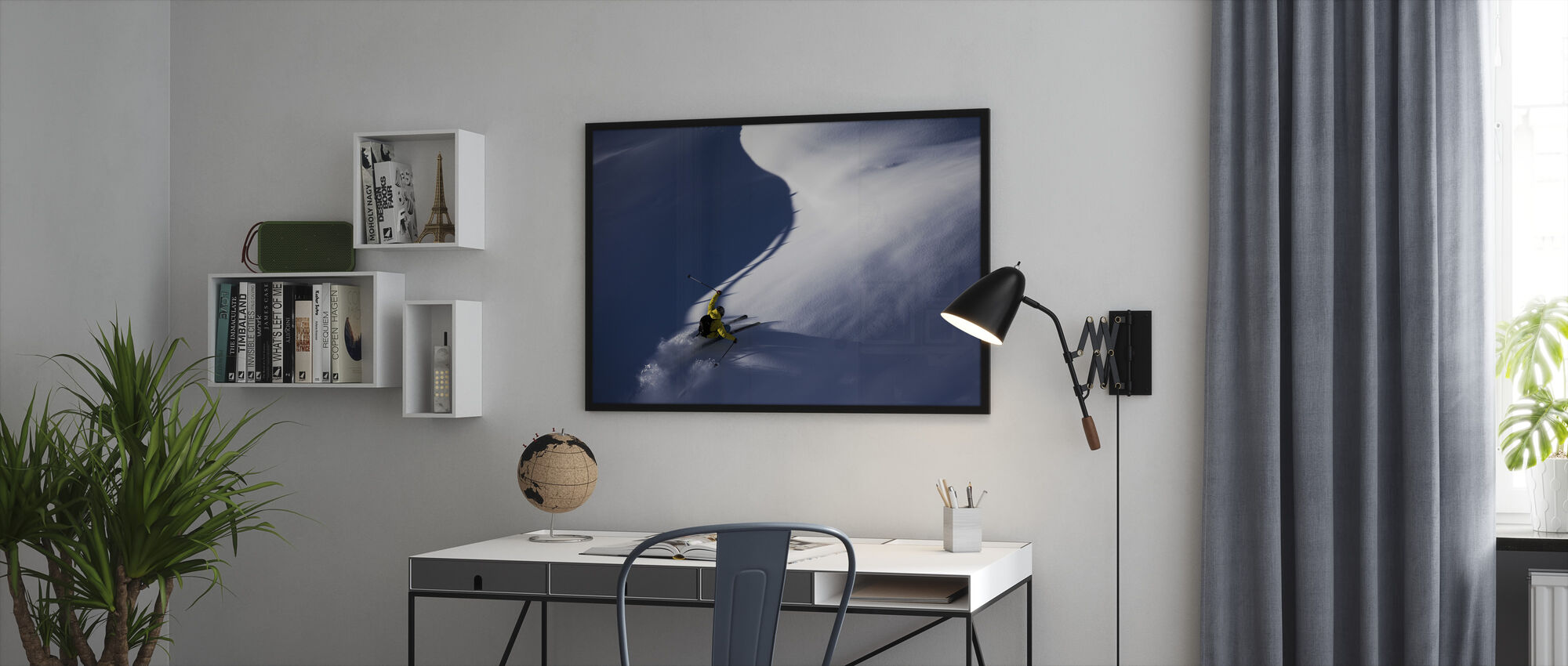 Pulver Snø Ski - Innrammet bilde - Kontor