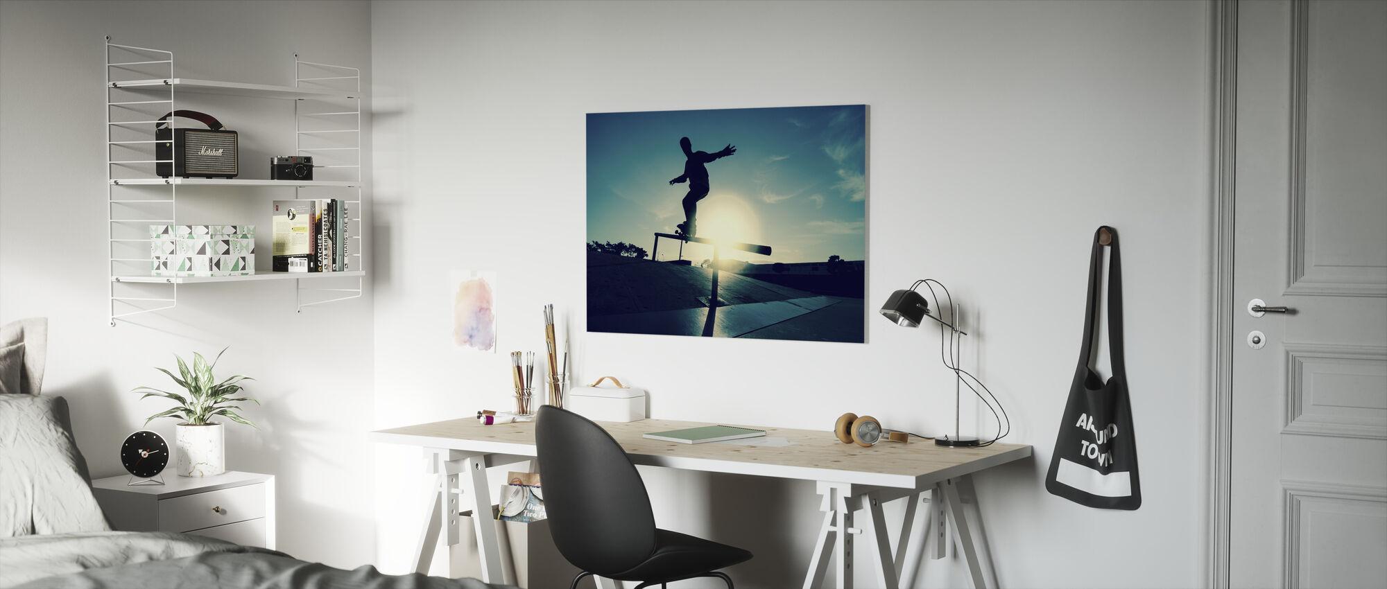 Skateboarder op een Grind - Canvas print - Kinderkamer