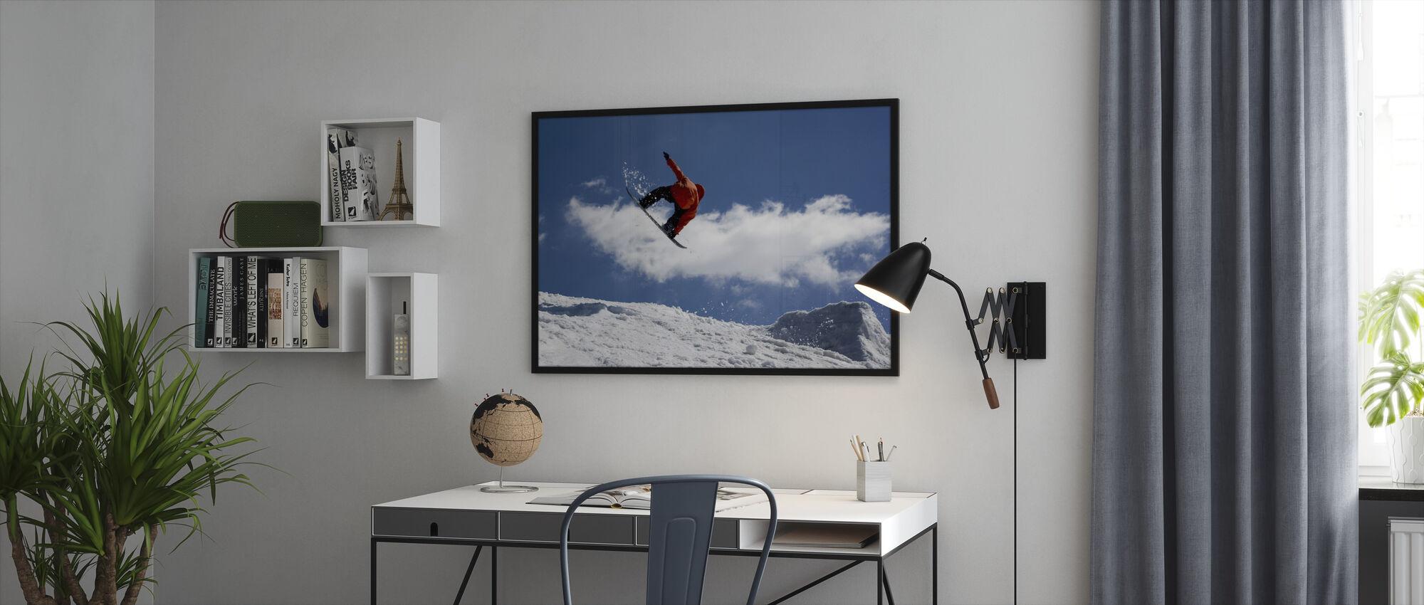 Snowboard Jump van Ramp - Ingelijste print - Kantoor