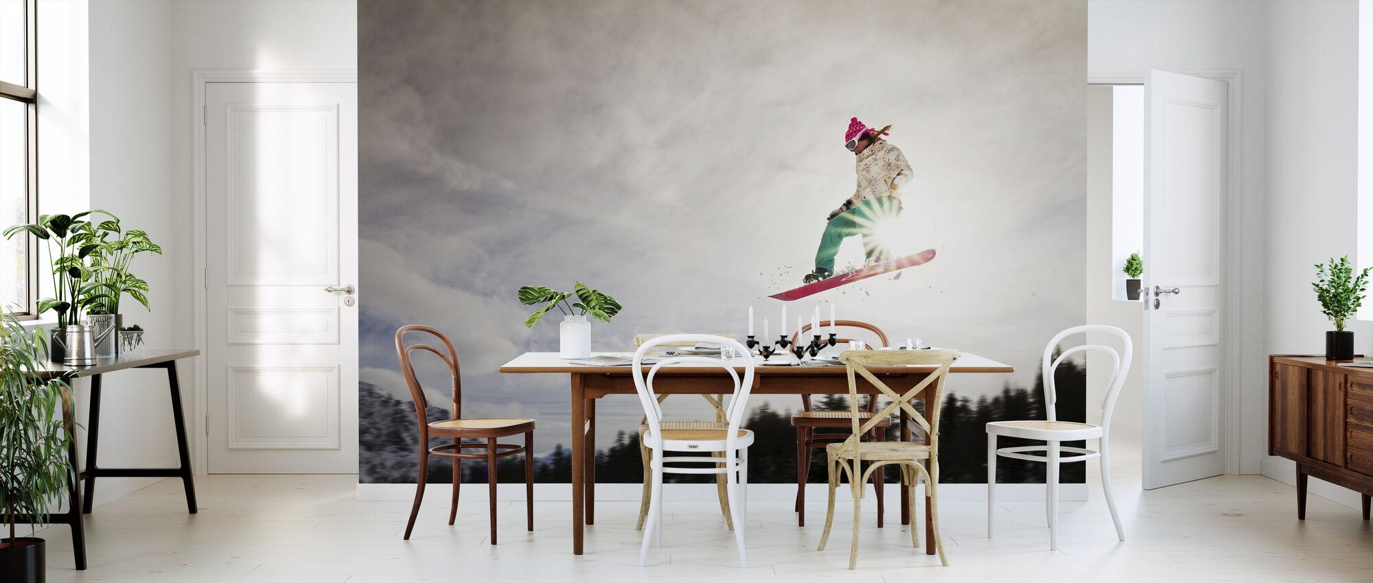 Snowboard Sunshine Jump - Wallpaper - Kitchen
