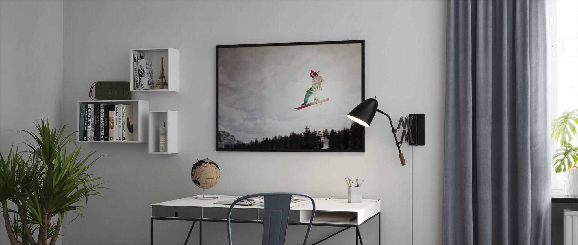 Snowboard Sunshine Jump - Ingelijste print - Kantoor