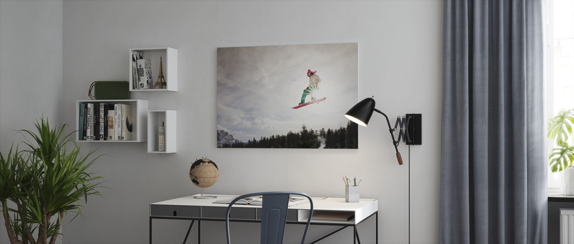 Snowboard Sunshine Jump - Leinwandbild - Büro